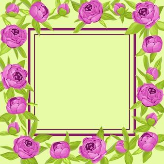 Paarse vintage bloemen rond frame
