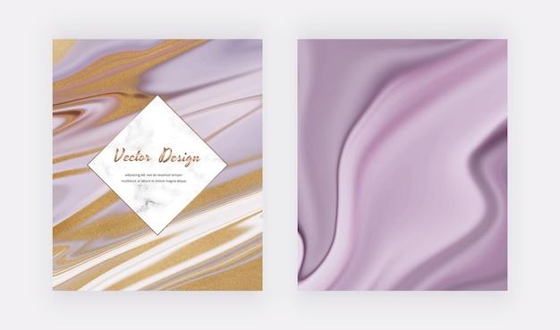 Paarse vloeibare inkt met gouden glitterkaarten en marmereffect
