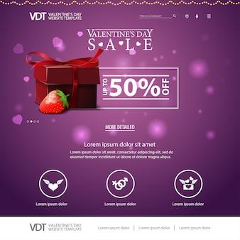 Paarse website sjabloon met valentijnsdag ontwerp