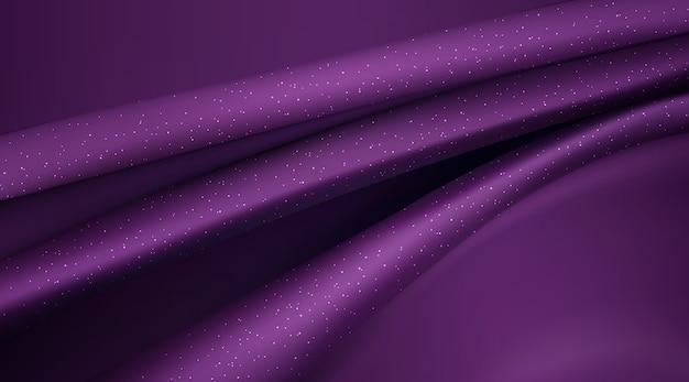 Paarse zijdeachtige stof abstracte achtergrond 3d illustratie realistische gewervelde textiel