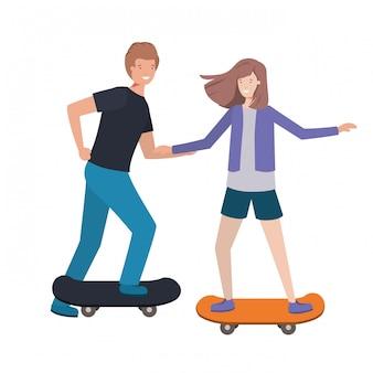 Paarvrouw met skateboardavatar karakter