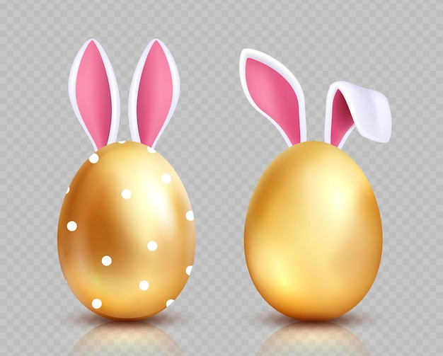 Paas eieren. gouden eierenjacht, konijnenoren. geïsoleerde realistische lente feestelijke elementen. gouden ei met oren konijn, pasen ontwerp illustratie