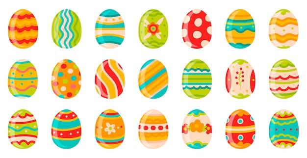 Paas eieren. leuke lente decoratieve chocolade-eieren, gelukkige pasen doodle siersymbolen