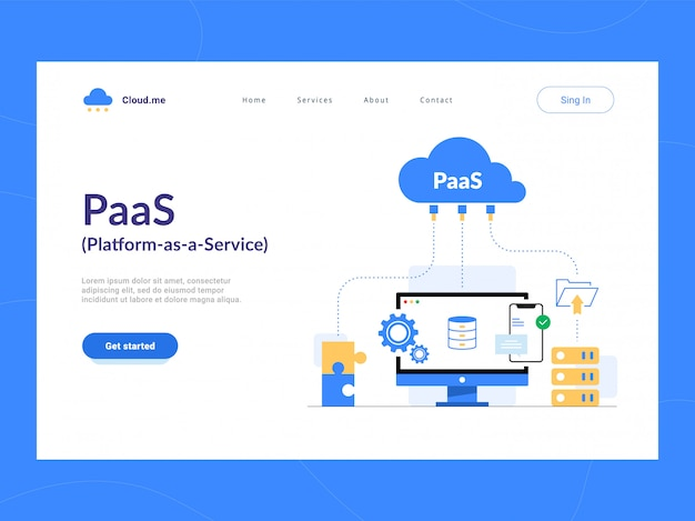 Paas: platform as a service eerste scherm. cloud componenten voor software, een raamwerk om applicaties op maat te bouwen. optimalisatie van bedrijfsprocessen voor startups, kleine bedrijven en ondernemingen.