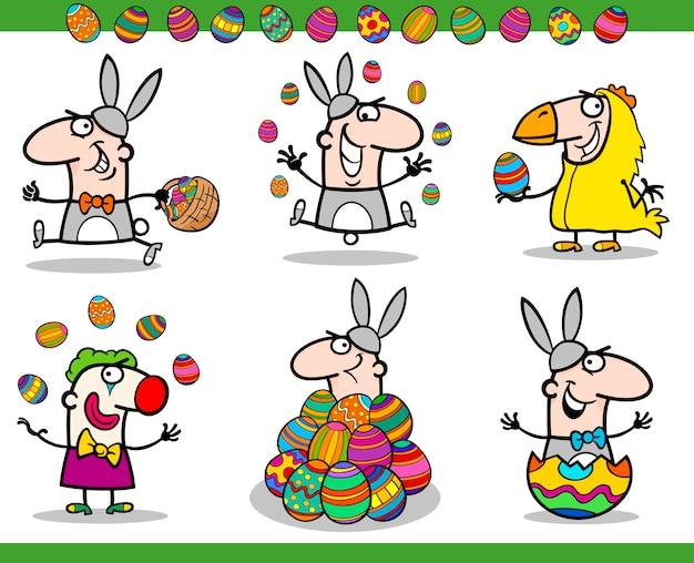 Paas thema's instellen cartoon afbeelding