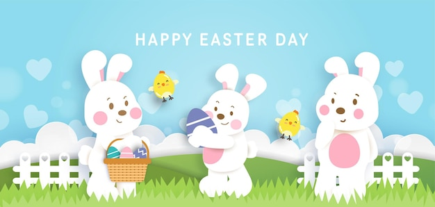 Paasdag achtergrond en banner met schattige konijnen en paaseieren