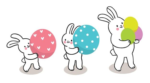Paasdag, drie konijnen en kleurrijke eieren hand tekenen cartoon schattig.