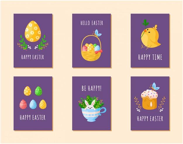 Paasdag kaarten - eieren, cartoon kip, zoete cake, schattig konijn in theekopje, houten mand met paaseieren