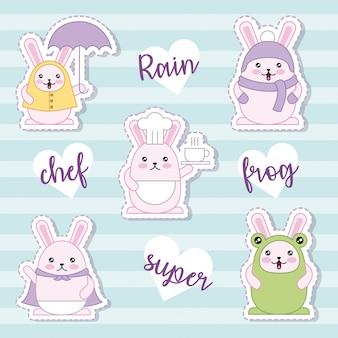 Paasdag kawaii sticker collectie
