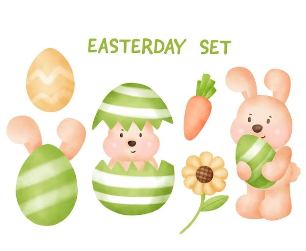 Paasdag set met schattig konijn en elementen.