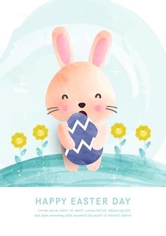 Paasdag sjabloon kaart met schattige konijn en paaseieren in aquarel.