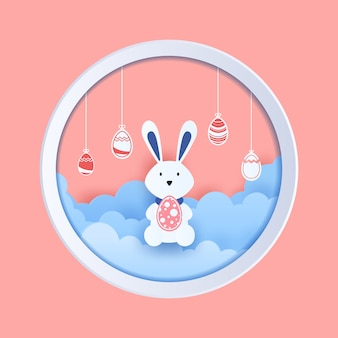 Paasei en bunny in papierstijl knippen.