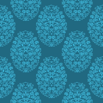 Paasei gemaakt van bloemen en kruiden naadloos patroon in doodle stijl.