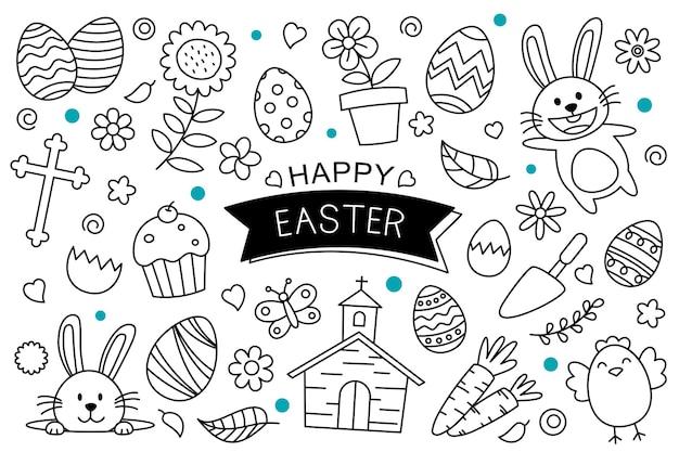 Paaseieren doodle hand getekend op witte achtergrond. gelukkige pasen geïsoleerde elementvoorwerpen.