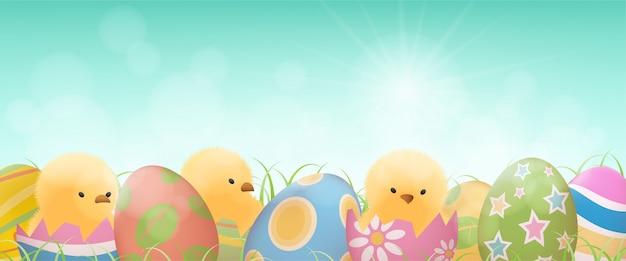 Paaseieren en gele kuikens in gebarsten eieren met gras banner