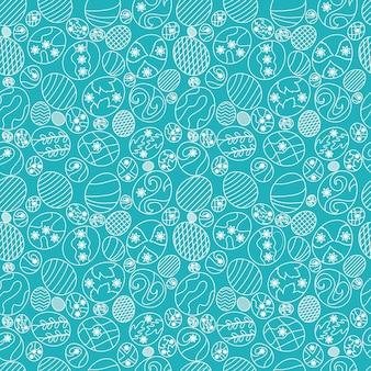 Paaseieren lijntekeningen naadloos patroon premium vector