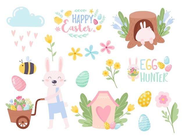 Paaseieren voor het ontwerp van de paasvakantie gelukkige paasdag vector illustraties voor uw ontwerpproject
