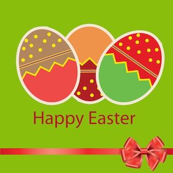 Paaseierenkaart met kleurrijke eieren. vector illustratie