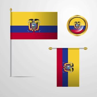 Paaseiland rapa nui zwaaien vlag ontwerp met badge vector