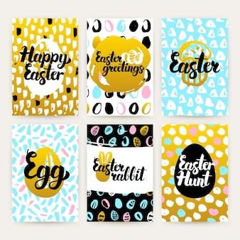 Paasgroeten trendy brochures. vectorillustratie van 80s stijl patroon ontwerp met handgeschreven letters.