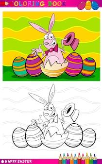 Paashaas cartoon illustratie om in te kleuren