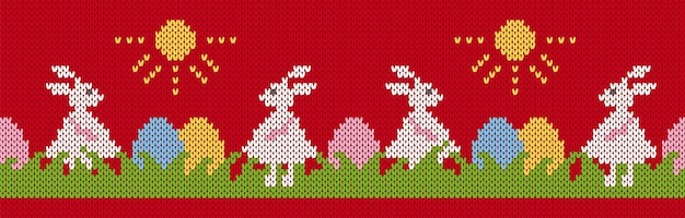 Paashaas en eieren in gras op gebreid seamlespatroon. happy easter rode print met konijnen.