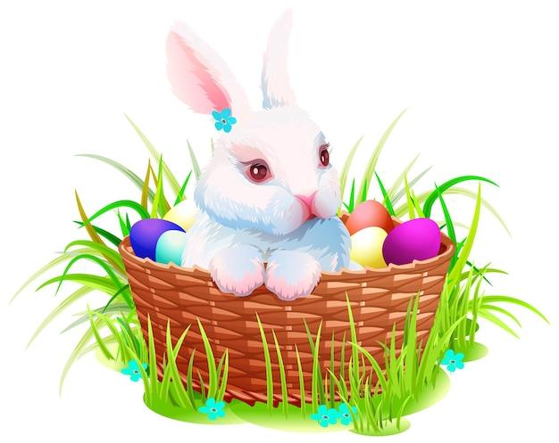 Paashaas konijn in mand met eieren cartoon.