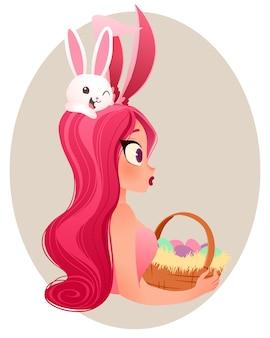 Paashaas meisje illustratie. jong glimlachend meisje dat konijntjesoren draagt die een mand met eieren houden.