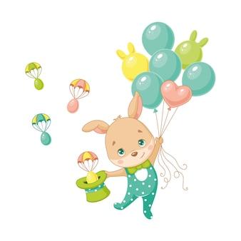 Paashaas vliegt op ballonnen