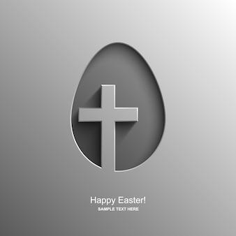 Paaskaart in de vorm van een ei met de afbeelding van een christelijk kruis, pasen-achtergrond