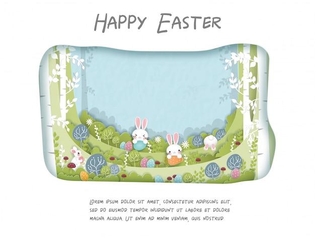 Paaskaart met schattig konijntje in het bos. papier gesneden illustratie.
