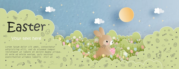 Paaskaart met schattig konijntje