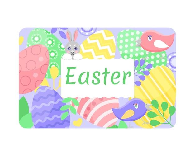 Paaskaart, paashaas, eieren in felle kleuren en schattige vogels. vector illustratie