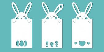 Paaskaarten met konijntjes. Een set sjablonen voor papier snijden, lasersnijden of plotter.