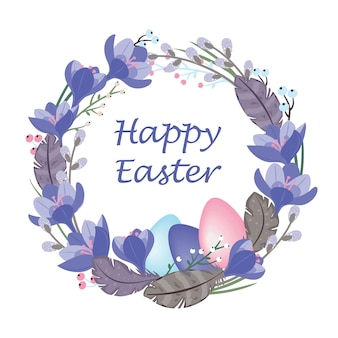 Paaskrans van krokussen, wilgen en veren, gekleurde eieren. vector, witte achtergrond, geïsoleerd, pastelkleuren.