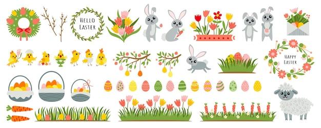 Paasontwerpelementen met konijnenkuiken lentebloemei