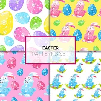 Paaspatronen set naadloos met cartoon konijnen en kleurrijke eieren ornament