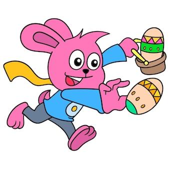 Paasseizoen konijn brengt eieren met een blij gezicht. illustratie kunst, doodle pictogram afbeelding kawaii.