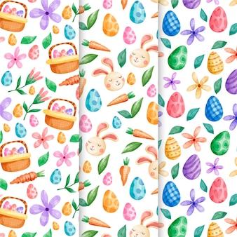 Paasvakantie aquarel patroon ingesteld met eieren en bloemen