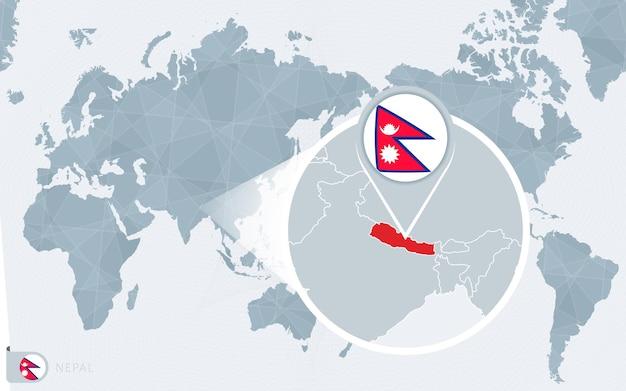 Pacific centered wereldkaart met uitvergroot nepal. vlag en kaart van nepal.