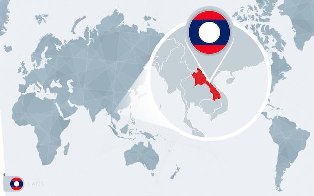 Pacific centered wereldkaart met vergrote laos. vlag en kaart van laos.