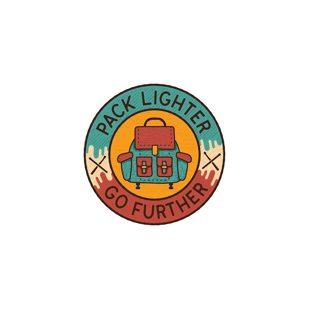 Pack aansteker ga verder badge design logo