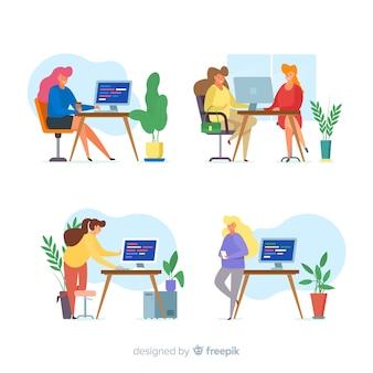 Pack geïllustreerde programmeurs werken