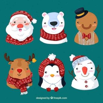 Pack met leuke kerstpersonages