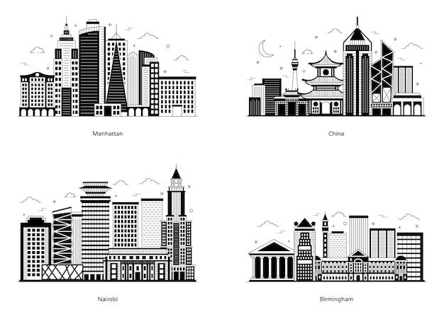 Pack met stadsarchitectuur glyph