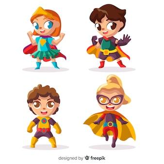 Pack met verschillende superheld-kinderen