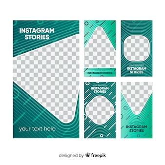 Pack van abstracte instagram verhalen sjabloon