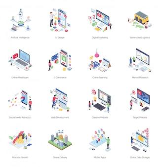 Pack van buiness isometrische illustratie