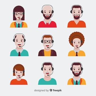 Pack van callcenter-avatars in vlakke stijl