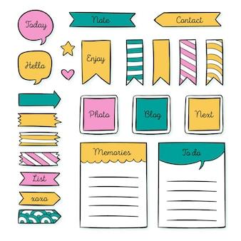 Pack van creatieve planner plakboekelementen